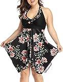 AONTUS Two Piece Swimsuits for Women Plus Size Swimwear Tankini Bathing Suits (Black- Peony, XL)