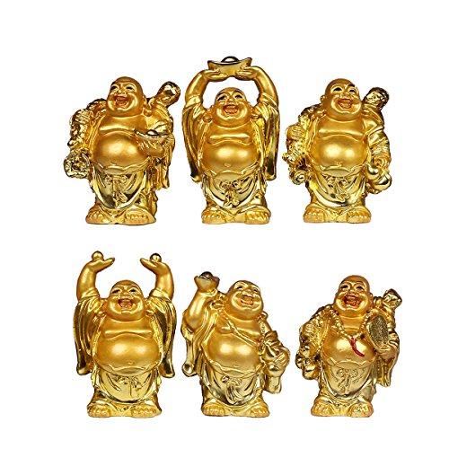 Resin Laughing Buddha Figurines 2.5''Height Gilting Buddha Statue Big 6 Set Gold -  CHANGSHENG BRONZE TECHNOLOGY CO.,LTD, B01K4FR3CS