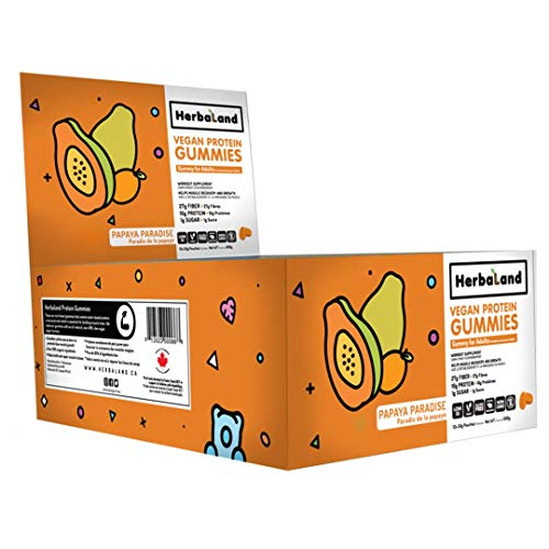 Vegan Protein Gummies Supplement by Herbaland - Plant-Based Low Sugar Vitamin Gummies - 10g of Protein (from Pea Protein) 27g of Fiber 1g of Sugar - Papaya Paradise Flavor - 12 x 50g pouch