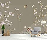 Papel Pintado Pared Papel Dormitorio Salon Decoración de Paredes Pájaro Con Flor De Magnolia Pintado A Mano Fotomural 3D Papel Tapiz Custom Mural Pared 300x210cm