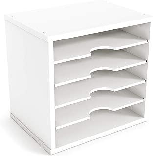 "Ballucci File Organizer Paper Sorter, 5 Tier Adjustable Shelves Office Desk Organizer, 12 1/2"" x 9 1/4"" x 12"", White photo"