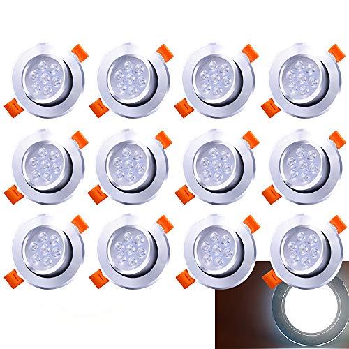 Hengda LED Spots Encastrables,Blanc Froid 6500K,560LM Plafonnier Encastré,7W Equivalente de 60W Ampoule halogène,30°orientable,120°d'éclairage,12x LED Lampe de plafond,Rond Métal