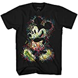 Disney Mickey Mouse Scribbles Disneyland World Tee Funny Humor Adult Mens Graphic T-Shirt Apparel (Black, X-Large)