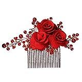 Lurrose Flor rosa Peine de lado Peine de pelo nupcial Accesorios de cabello de perla Accesorios para el desgaste de la cabeza de boda para mujeres