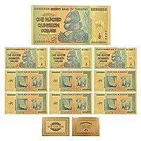 XMSM ジンバブエ$ Z100兆/ 100 Quintrillion / 5 Octillion / 100 Decillionドル金箔紙幣のレプリカ紙幣ビジネスギフト (色 : 10pcs Z100 Quin)