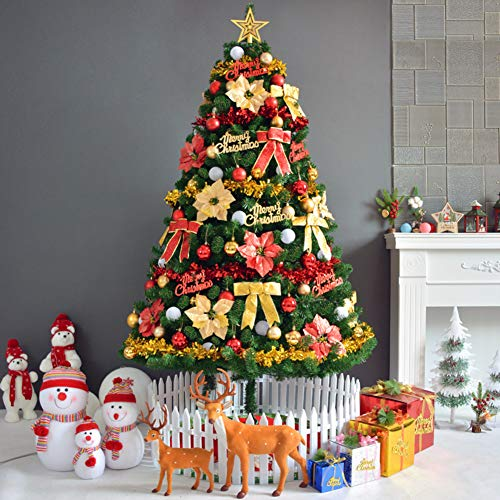 qwqqaq High Density Christmas Tree With Clear Ornaments,artificial Multicolor Foldable Xmas Tree Easy Assembly Christmas Decor-d 150cm/5ft