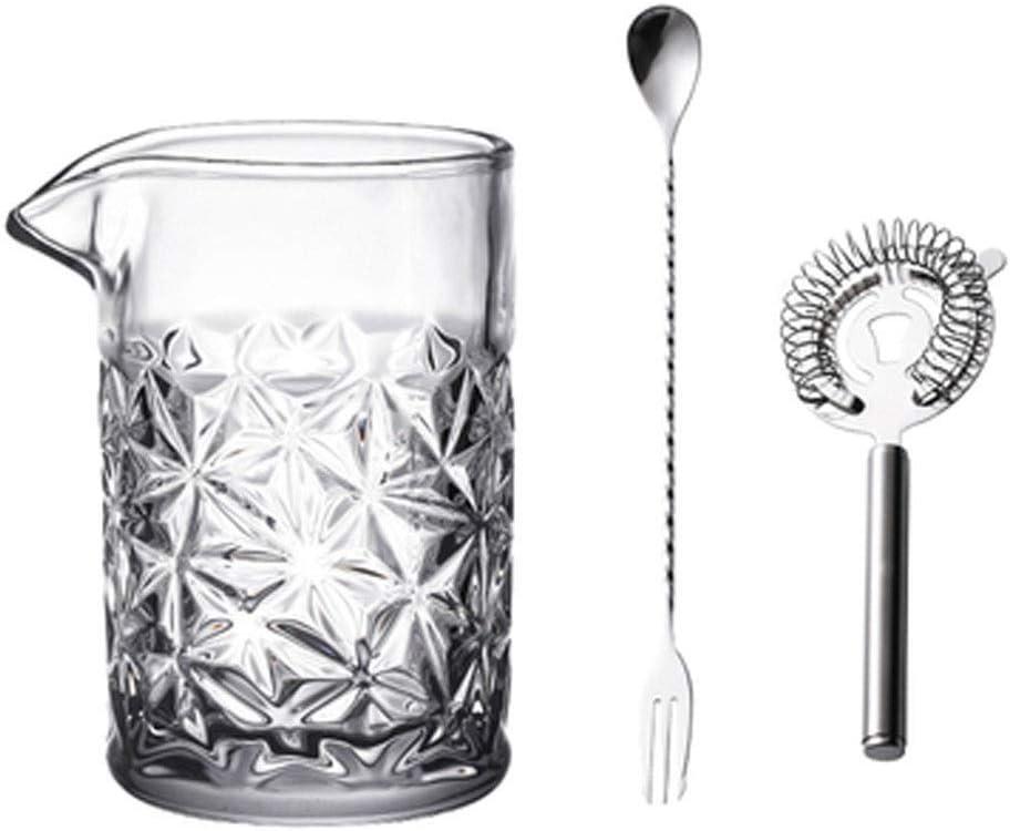 Conjunto de cócteles Conjunto de cristal del camarero-Kit de mezcla de vidrio, cuchara, Colador irrompible Diseño-450ml Cristal de plomo libre de mezcla de cóctel de vidrio cóctel Juego de herramienta