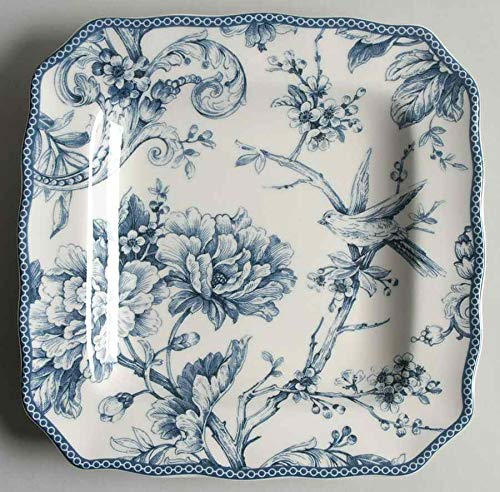 222 Fifth Adelaide Blue & White Salad Plates, Set of 4, Square