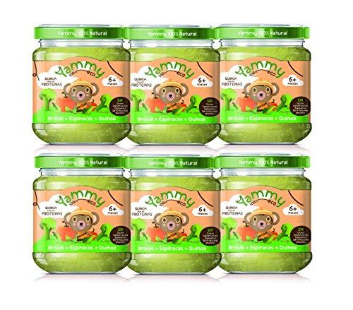 Yammy - Potito Comida Bebé Ecológico de Brócoli Espinacas Quinoa +6 meses Pack 6 x 195 gr - Total: 1170 gr