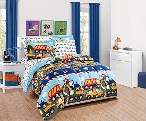 Fancy Linen Boys Comforter and Sheet Set Construction Zone Public Work Excavator Dumb Trucks Front and Backhoe Loader Tractors Light Blue Red Yellow Dark Blue New # Construction (Twin)
