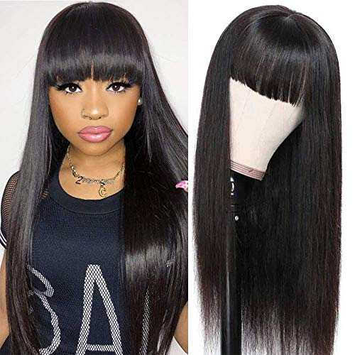 """BLISSHAIR straight human hair wigs with bangs for black women brazilian 9A none lace front capelli veri Guleless machine weft wigs Parrucca Donna Capelli Veri Colore naturale 14"""""""