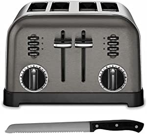 Cuisinart CPT-180BKS 4-Slice Metal Classic Toaster (Black and Stainless) with Stainless Steel Bread Knife Bundle (2 Items)