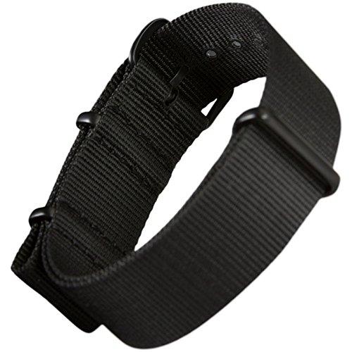 『ZULUDIVER G10 ナイロン 腕時計バンド 選べるカラー・サイズ バックル仕上げ 18mm Black / IP Black』の5枚目の画像