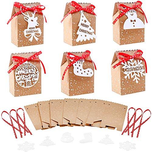 Caja de Dulces de Navidad, 20PCS Bolsa de Dulces de Papel kraft de Navidad, Caja de Regalo de Fiesta de Bricolaje, Decoración de Regalo de Navidad, Caja de Regalo Plegable Fácil