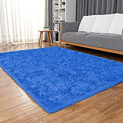Ophanie Machine Washable Fluffy Area Rugs for Living Room, Ultra-Luxurious Soft and Thick Faux Fur Shag Rug Non-Slip Carpet for Bedroom, Kids Baby Room, Nursery Modern Decor Rug, 4x5.3 Feet Navy