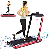 ANCHEER 2 in 1 Smart Folding Treadmill, 2.25HP Under Desk Treadmill, Electric Portable Space Saving Fitness Motorized Walking Running Machine with Bluetooth Audio Speakers (Red)