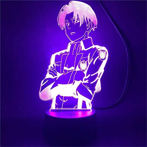 A-Generic LED luz Nocturna 3D Creativo 3D ilusión Ataque Titanes Regalo de cumpleaños para niños Hombre Amigos con Remoto 16 Colores cambiantes-Ataque EN Titan.