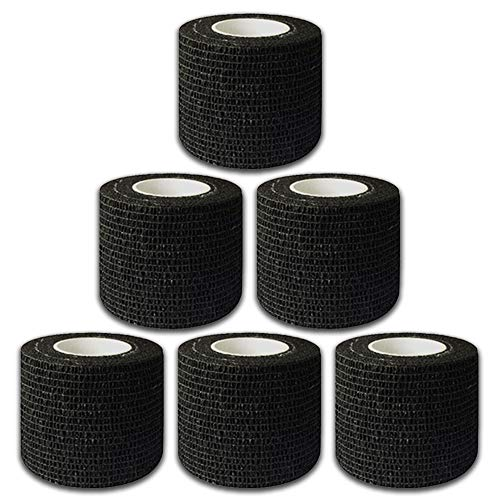 Autdor Tattoo Grip Cover Wrap - 6Pcs 2' x 5 Yards Disposable Cohesive Tattoo Grip Tape Wrap Black Elastic Bandage Rolls Self-Adherent Tape for Tattoo Machine Grip Tube Accessories, Sports Tape