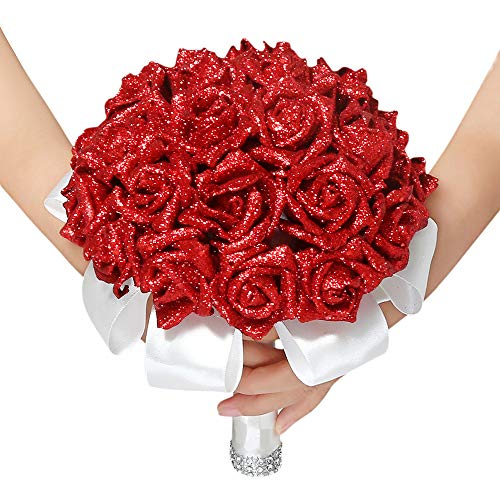 Alisy Artificial Flowers Outdoor, Crystal Roses Pearl Artificial Silk Flowers for Bridesmaid Wedding Bouquet Bridal