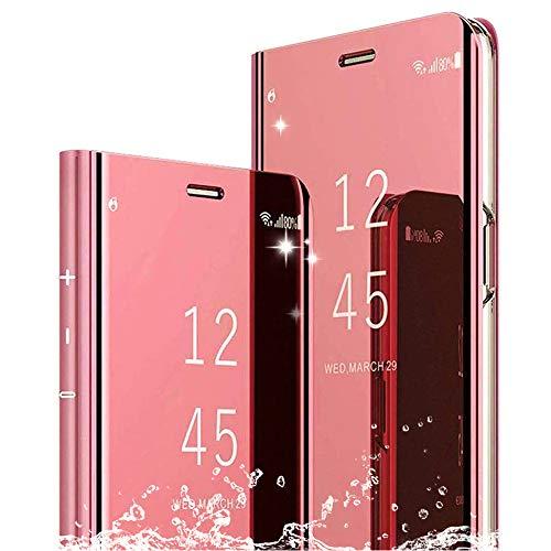 DAYNEW Cover Samsung Galaxy J4 Plus,Specchio Custodia per Samsung Galaxy J4 Plus,Funzione Kickstand Ultra-Sottile Specchio Smart Cover per Samsung Galaxy J4 Plus-Oro Rosa