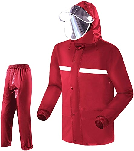 OLDJTK Manteau imperméable à l'eau à Capuchon imperméable pour Adulte avec Capuchon imperméable Complet pour Adulte, Rouge (Taille   M)