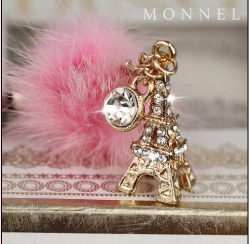 IP658-B Cute Year-end annual account Pairs NEW before selling Eiffel Tower Chain Cell Plug Phone Charm Dust