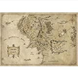 Poster Middle Earth Map/Lord of The Rings Movie Poster Photographic Paper Vintage Poster Wall Art Picture For Living Room 40×60 Cm No Frame