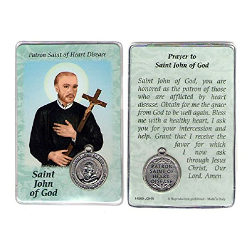 Saint St St. John of God Prayer Card Holy Card Cards Patronage Patron Heart Disease Failure Healing Problems with Medal