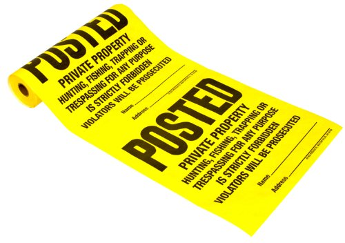 Hy-Ko Products TSR-100 Posted Private Property Tyvek Sign Roll 11' x 11' Yellow, 100 Pieces