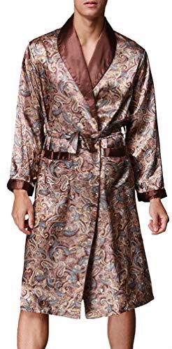 OLIPHEE Herren Satin Bademäntel Paisley Pattern Kimono Morgenmantel Braun-1 EUR M (Asien XL)