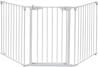 Bonnlo 73-Inch Versatile Safety Gate Metal Baby/Pet Gate Configurable Dog Barrier - Ideal for Wide Door Openings, Stairways, Doorways, Includes Wall Mounts (25.39