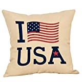 Leaveland Happy Independence Day Quote Throw Pillow Cover, 18 x 18 Inch Love USA Decorative...