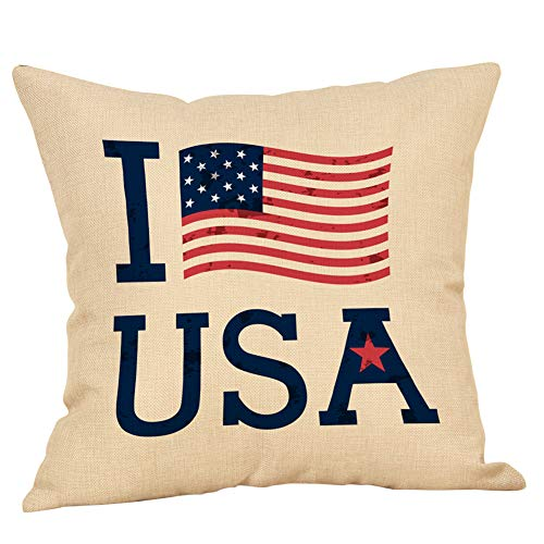 Leaveland Happy Independence Day Quote Throw Pillow Cover, 18 x 18 Inch...