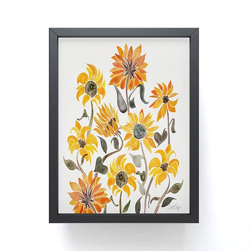 Society6 Cat Coquillette Sunflower Watercolor Yellow Mini Art Print, Black Frame