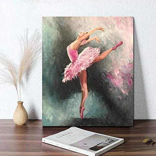 5D-DIY- Pintura de diamanteb Imagen de estilo de moda de baile de bailarina hermosa moderna nórdica Pintura de diamante de renovación de bricolaje 5d Pintura de diamantes de i50x60cm(Sin marco)