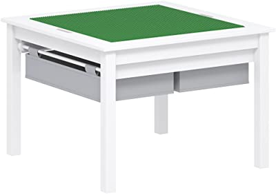 UTEX 2 in 1 Kids Construction Play Table with Storage Drawers and Built in Plate (White)