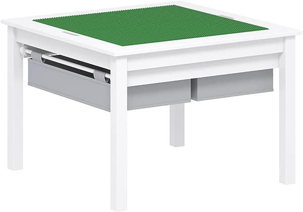 UTEX 2 合 1 儿童建筑游戏桌与储物抽屉和内置板白色