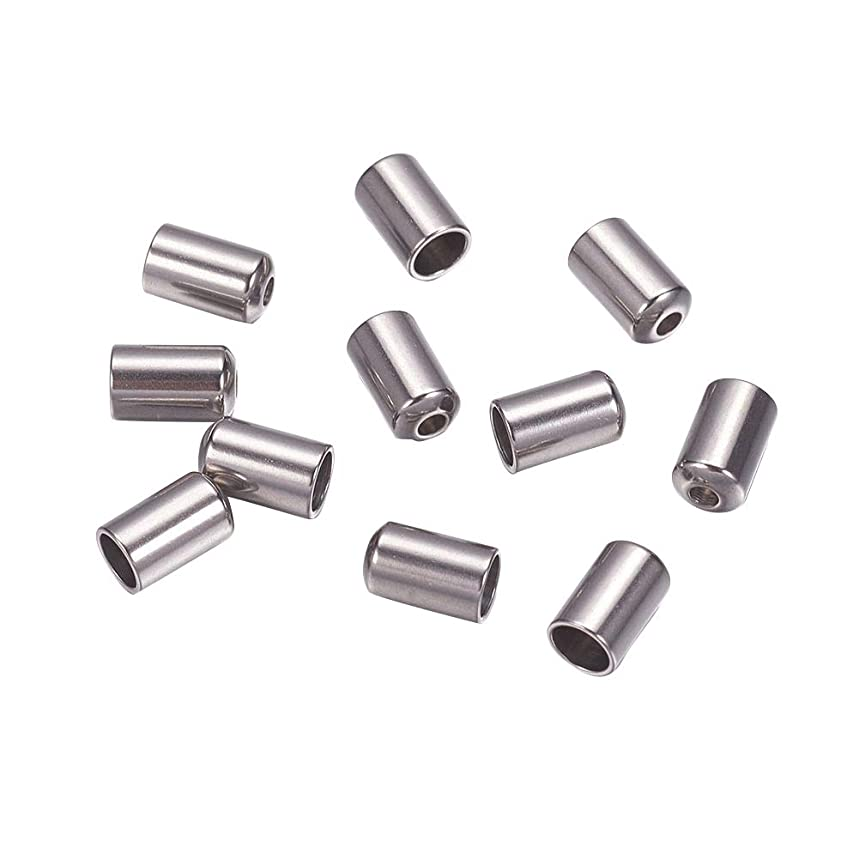 ARRICRAFT 100pcs Stainless Steel Column End Caps Cord Terminators for Leather Cord Jewelry Makig, 6.5x4mm