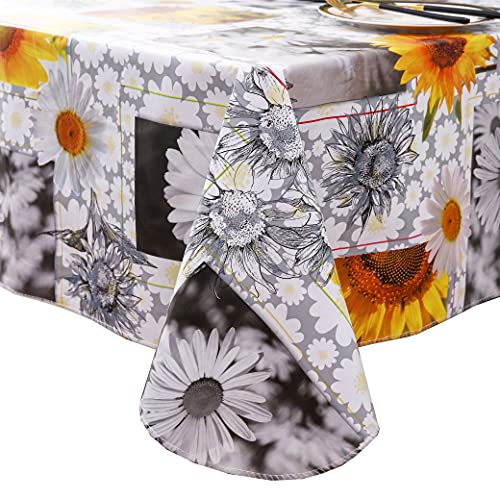 Heavy Duty Vinyl Tablecloth with Flannel Backing Waterproof Oil-Proof PVC Table Cloth Stain-Resistant Wipeable Rectangle or Square Table Cover