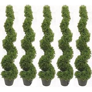 Silk Flower Arrangements Silk Tree Warehouse Five 4 Foot 2 Inch Artificial Boxwood Spiral Topiary Trees Potted Indoor Outdoor UV Rated. Free Returns!