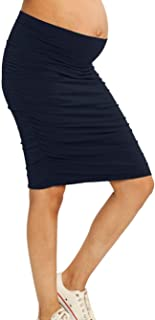 Angel Maternity Women's Maternity Rouched Bodycon Fitted Skirts, Navy, 2XL