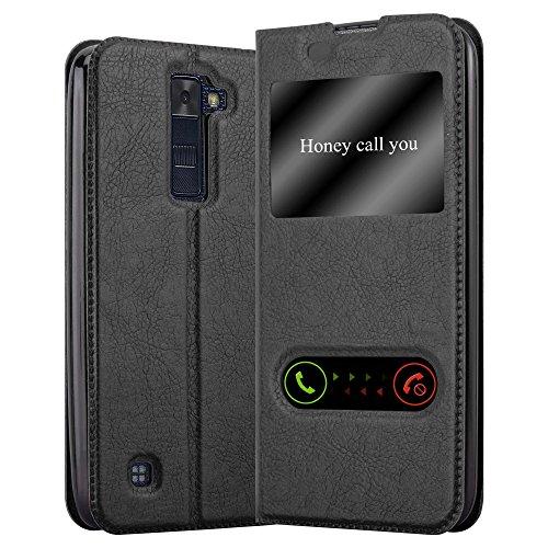 Cadorabo Funda Libro para LG K8 2016 en Negro Cometa - Cubierta Proteccíon con Cierre Magnético, Función de Suporte y 2 Ventanas- Etui Case Cover Carcasa