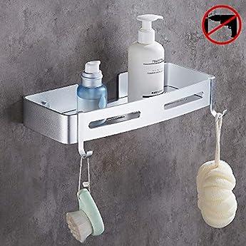2 Pezzi Mensola del Bagno Bagno Mensole Porta Shampoo Sapone Mensola Angolare con 4 Ganci Mensole ad Angolo Bagno Senza Foratura da Cucina Alluminio Spaziale Nessuna Foratura Nessun Danno Autoadesi