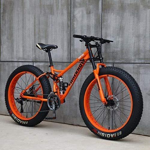 Mountain Bike 24 Pollici Fat Bike da Montagna, Telaio in Acciaio ad Alto Tenore di Carbonio Biciclette, Bicicletta Biammortizzata,Arancia,21 Speed
