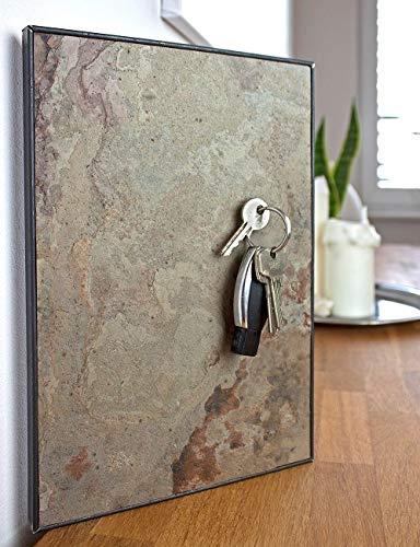 Steinmine - Designmanufaktur Magnetisches Schlüsselbrett, Echt Schiefer Schlüsselboard 30cm x 20cm(Schlüsselhalter Magnet) (Skin Rock)