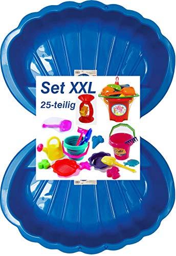 Sandbox Sandkasten Sandmuschel Muschel Wasser Planschbecken groß 108x79cm XL, 5 Farben! (2xblau+25-TLG.Set)