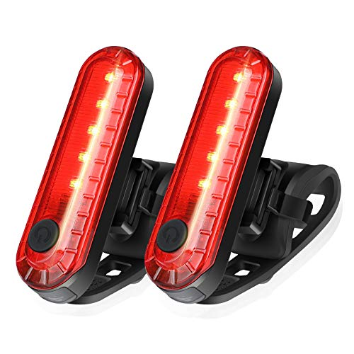 Ascher USB Rechargeable LED Bike Tail Light 2 Pack, Bright Bicycle Rear Cycling Safety Flashlight, 330mah Lithium Battery, 4 Light Mode Options, (2 USB Cables Included)