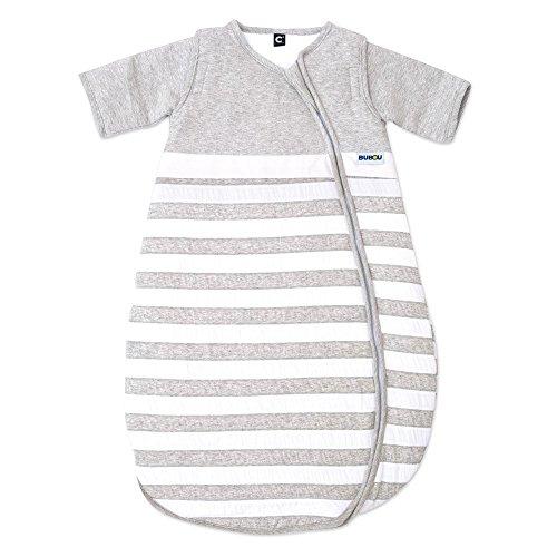 Gesslein Bubou Design 086: Temperaturregulierender Ganzjahreschlafsack/Schlafsack für Babys/Kinder, Größe 70, grau weiß gestreift