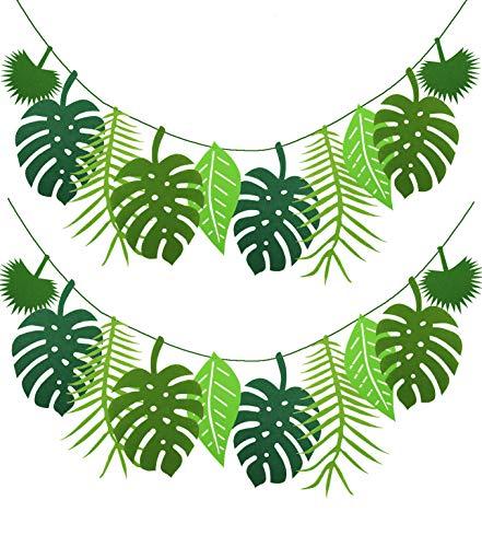 PIXHOTUL Tropical Leaf Banner Hawaii Luau Party Leaves Garland Summer Beach Theme Wedding Birthday Party Decor (Green Felt Leaves)