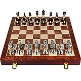 Cutfouwe Conjuntos de ajedrez Profesional, ajedrez Conjunto de Caja de Regalo de Gama Alta de ajedrez Pantalla de Plegado de Madera Maciza Jade Chess Clientes Western para Regalos,17.7x17.7x1.8in